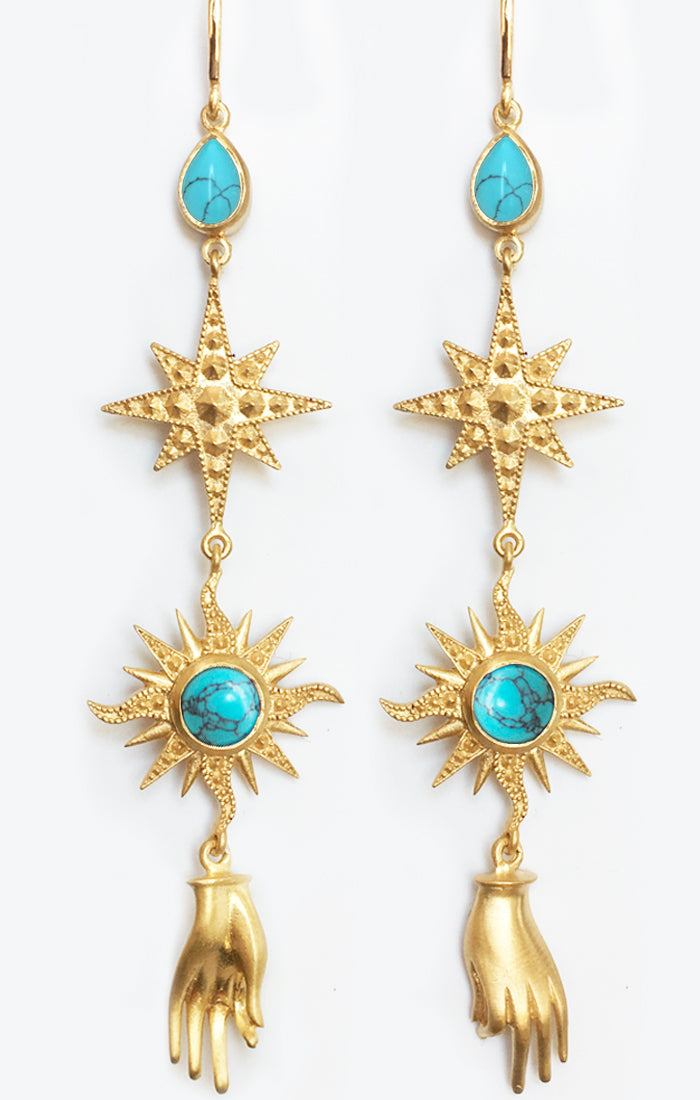 Orion Earrings<br /><i><small>18K Gold Plated with Turquoise</small></i><br /> - Eddera
