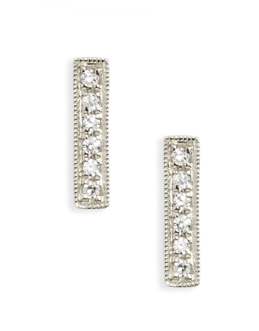 MINI DIAMONDS BAR STUDS | 14K & Diamonds
