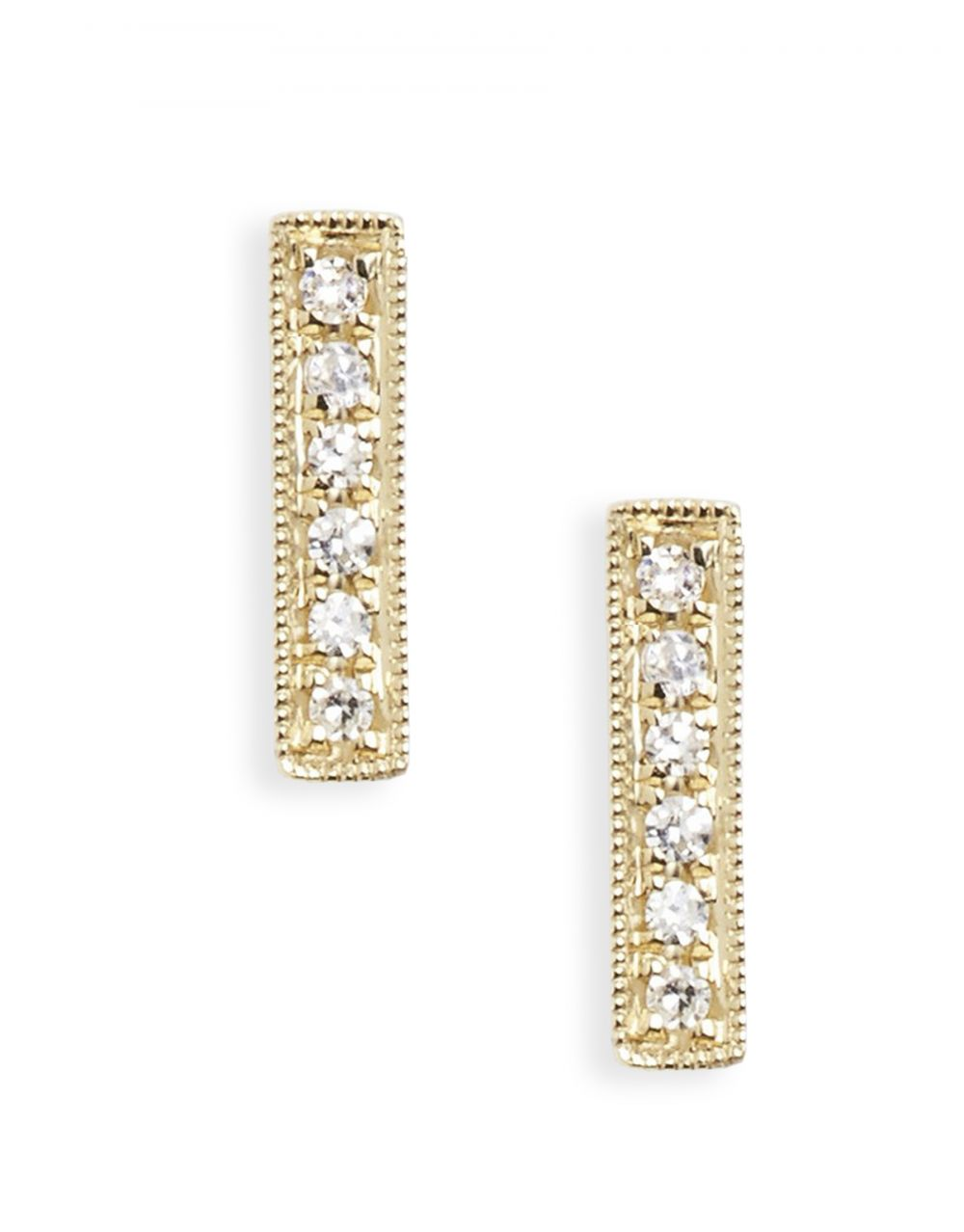 Pavé Bar Stud<br /><i><small>14K Yellow Gold with White Diamonds</small></i><br /> - Eddera