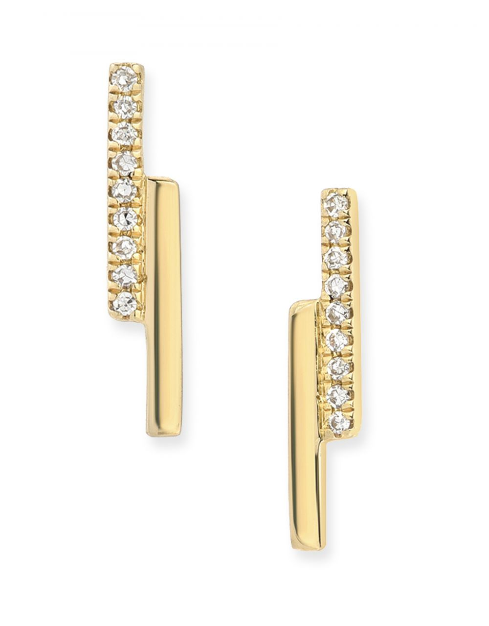 Pave & Gold Bar Stud<br /><i><small>14K Yellow Gold with White Diamonds</small></i><br />