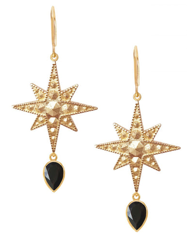 Sirius Earrings<br /><i><small>18K Gold Plated with Black Onyx</small></i><br />