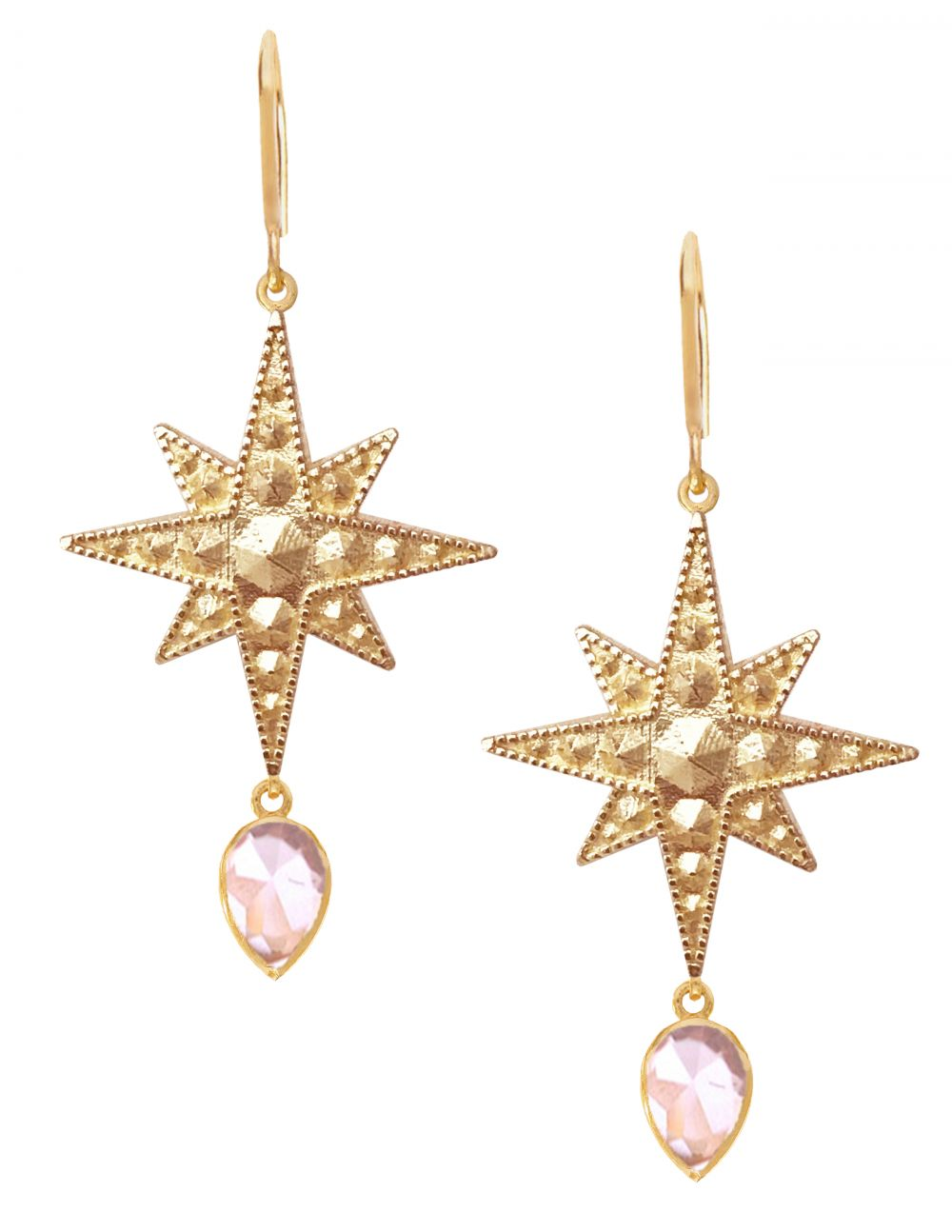 Sirius Earrings<br /><i><small>18K Gold Plated with Rose Quartz</small></i><br /> - Eddera