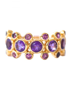 Rebecca Ring<br /><i><small>18K Gold Plated with Amethyst & Tourmaline</small></i><br />