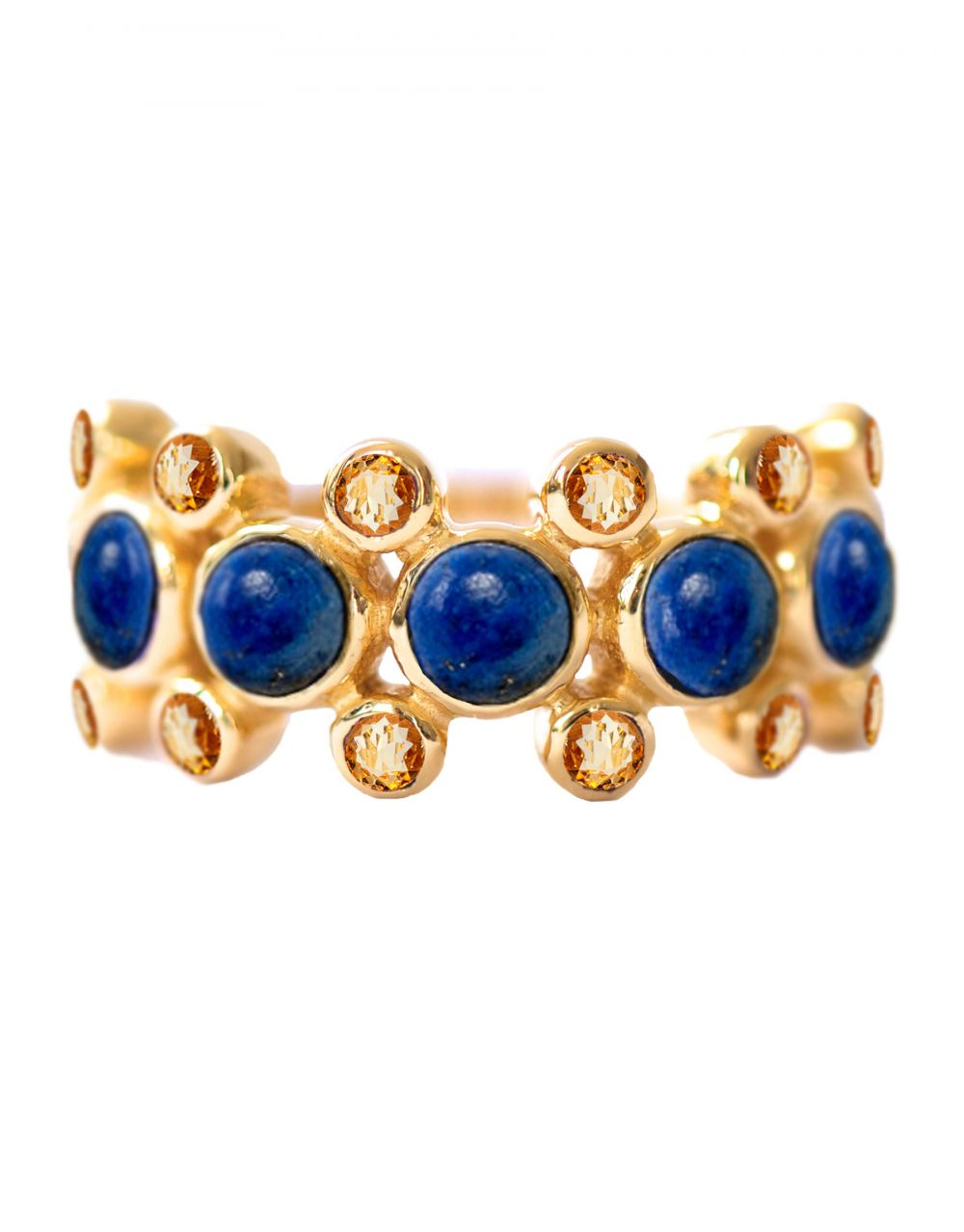 Rebecca Ring<br /><i><small>18K Gold Plated with Lapis Lazuli & Yellow Topaz</small></i><br /> - Eddera