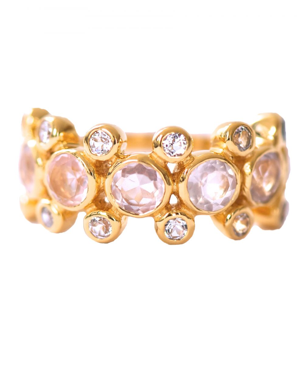 Rebecca Ring<br /><i><small>18K Gold Plated with Rose Quartz & White Topaz</small></i><br /> - Eddera