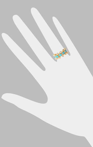 Rebecca Ring<br /><i><small>18K Gold Plated with Turquoise & White Topaz</small></i><br /> - Eddera