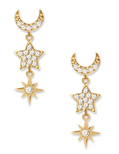Galaxy Earrings<br /><i><small>18K Gold Plated with White Topaz</small></i><br />