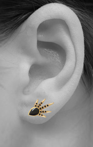 Shooting Star Crawlers<br /><i><small>18K Gold Plated with Black Onyx</small></i><br />