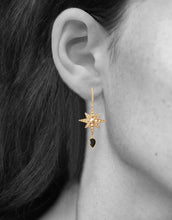 Load image into Gallery viewer, Sirius Earrings<br /><i><small>18K Gold Plated with Black Onyx</small></i><br />