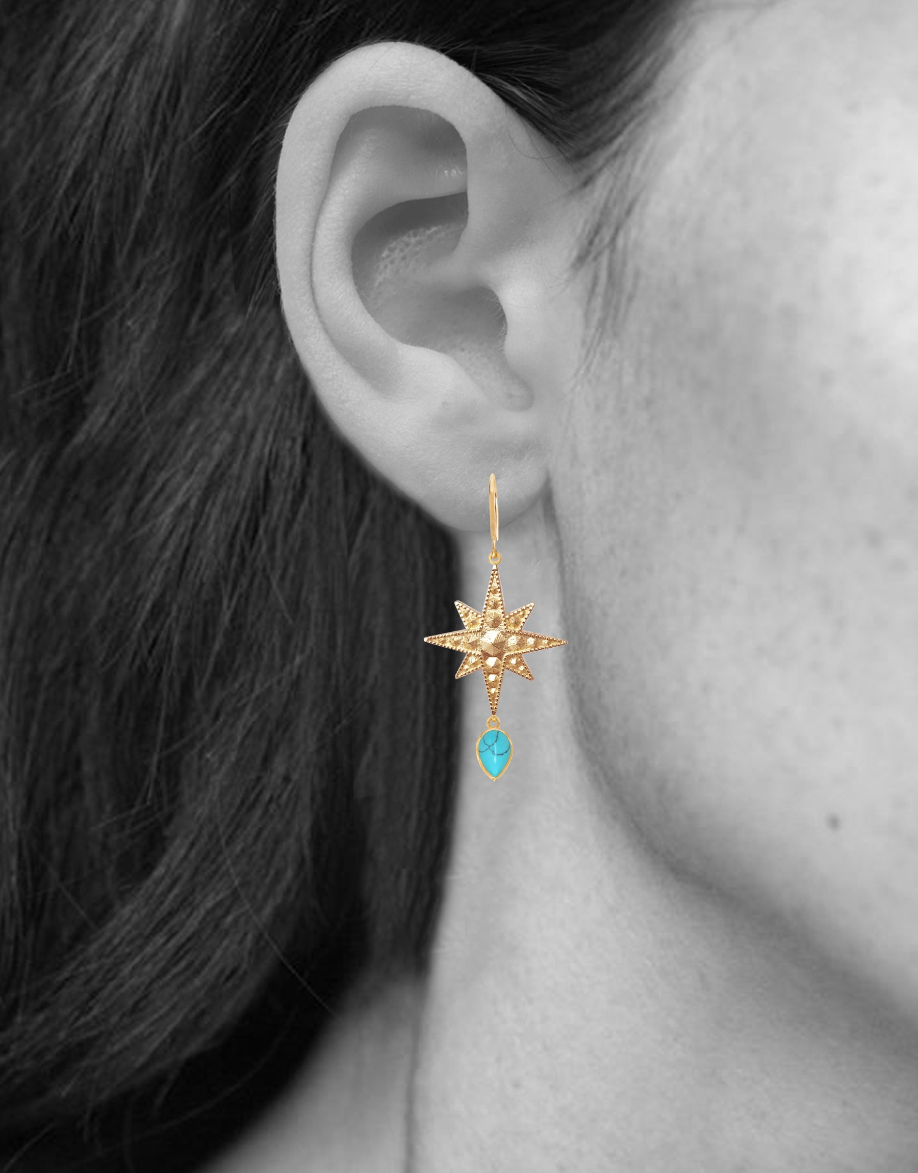 Sirius Earrings<br /><i><small>18K Gold Plated with Turquoise</small></i><br /> - Eddera