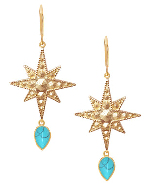 Sirius Earrings<br /><i><small>18K Gold Plated with Turquoise</small></i><br />