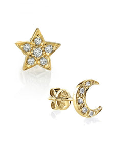 Star & Moon Stud<br /><i><small>14K Yellow Gold with White Diamonds</small></i><br />