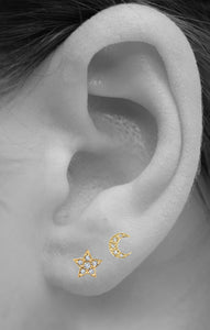 Star & Moon Stud<br /><i><small>14K Rose Gold with White Diamonds</small></i><br />