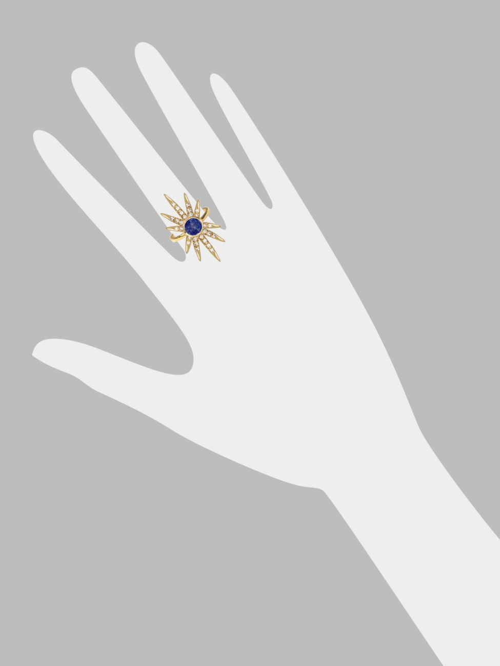Sunburst Ring<br /><i><small>18K Gold Plated with Lapis Lazuli & White Topaz</small></i><br /> - Eddera