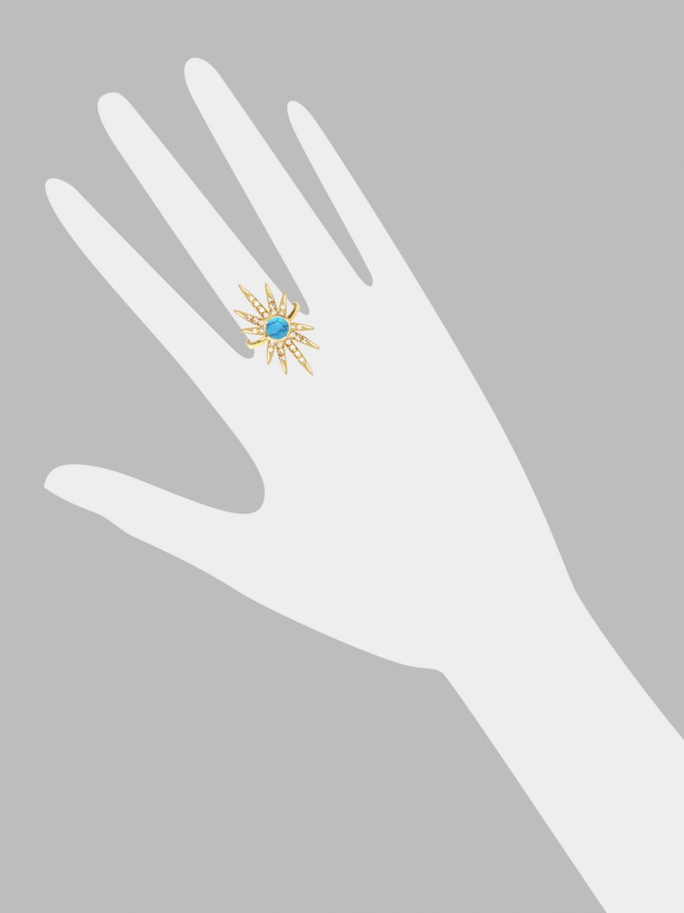 Sunburst Ring<br /><i><small>18K Gold Plated with Turquoise & White Topaz</small></i><br /> - Eddera