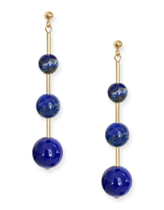 Umbra Triple Earrings<br /><i><small>14K Yellow Gold with Lapis Lazuli</small></i><br />