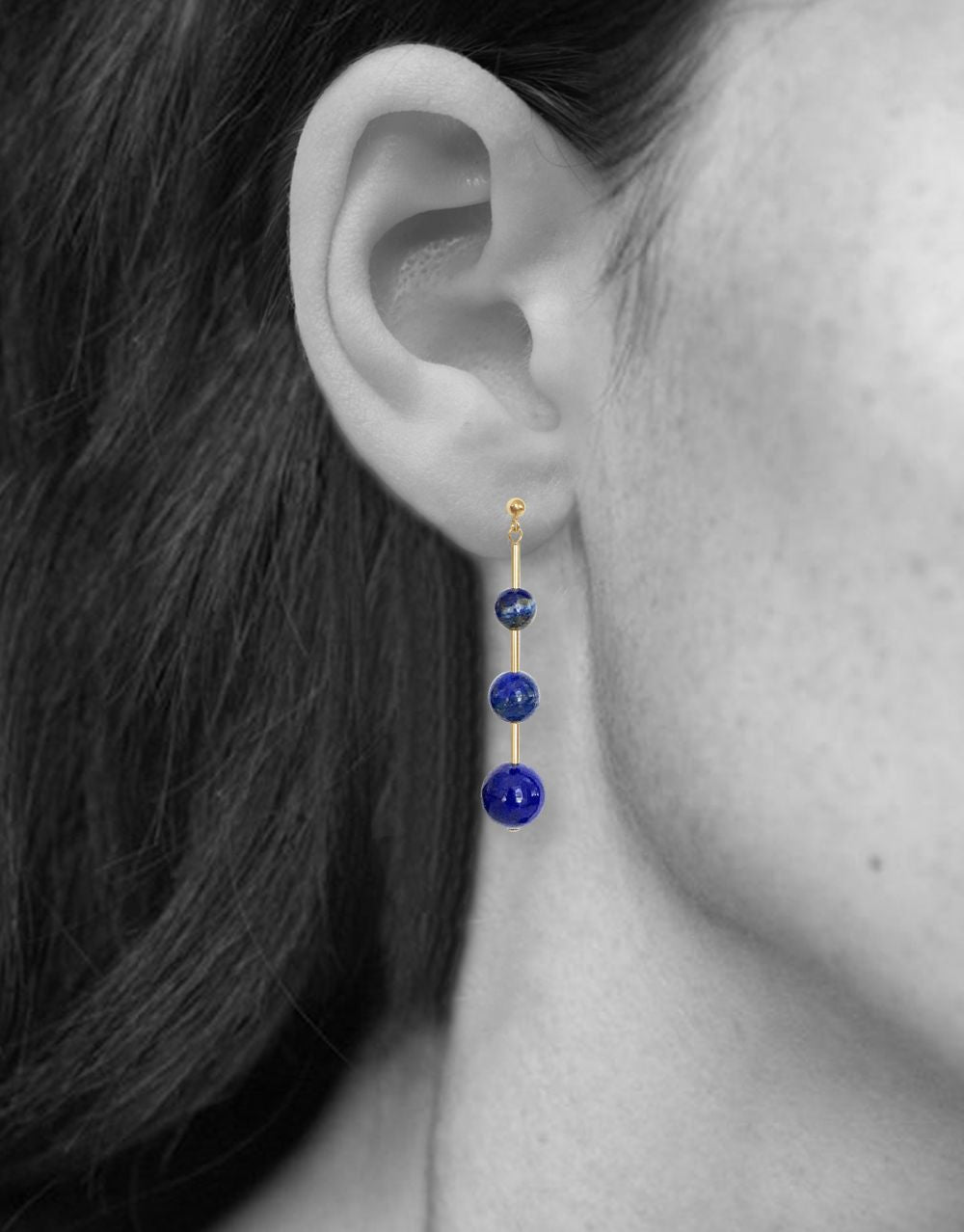 Umbra Triple Earrings<br /><i><small>14K Yellow Gold with Lapis Lazuli</small></i><br /> - Eddera