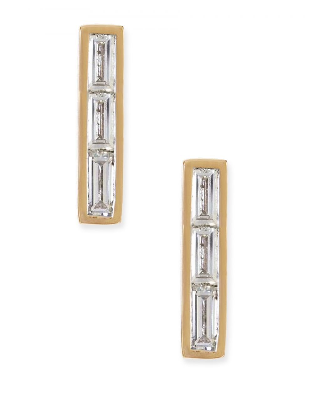 Three Baguette Stud<br /><i><small>14K Yellow Gold with White Diamonds</small></i><br />
