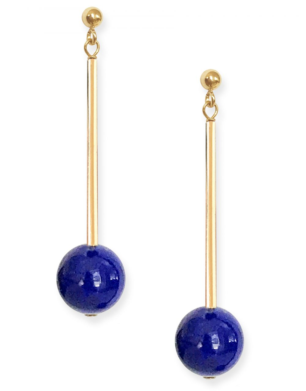 Umbra Earrings<br /><i><small>14K Yellow Gold with Lapis Lazuli</small></i><br />