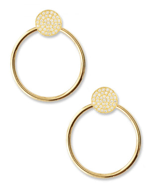 Unity Pave Earrings<br /><i><small>14K Yellow Gold with White Diamonds</small></i><br />