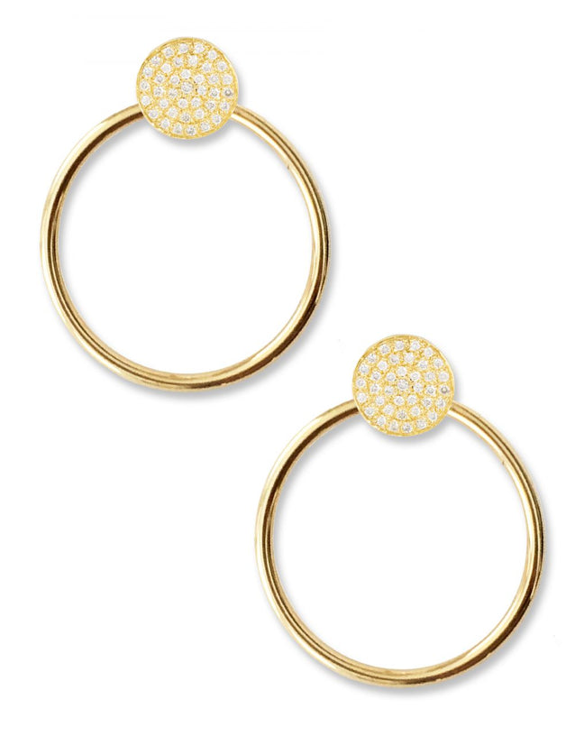 Unity Pave Earrings<br /><i><small>14K Yellow Gold with White Diamonds</small></i><br /> - Eddera