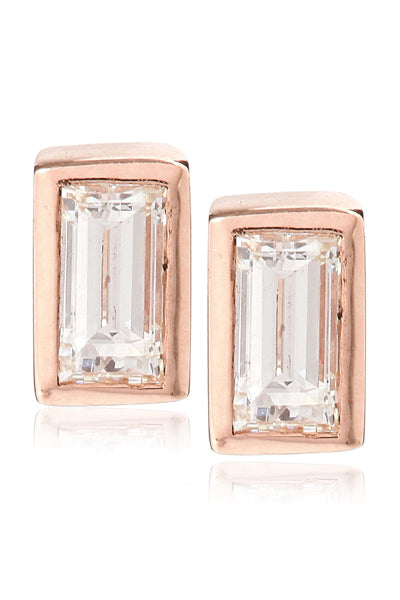 BAGUETTE DIAMOND STUDS |  14K Rose Gold with White Diamonds - Eddera