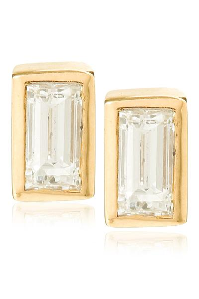 BAGUETTE STUDS |  14K & Diamonds