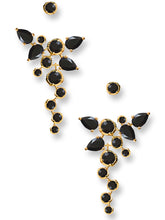 Load image into Gallery viewer, Cascade Ear Jackets<br /><i><small>18K Gold Plated with Black Onyx</small></i><br />