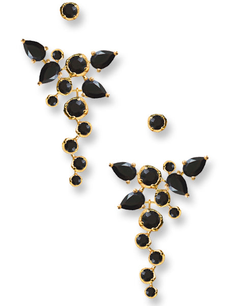 CASCADE EAR JACKETS | 18K Gold Plated with Black Onyx - Eddera