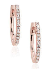 Load image into Gallery viewer, Mini Diamond Hoops<br /><i><small>14K Rose Gold with White Diamonds</small></i><br />Mini Diamond Hoops