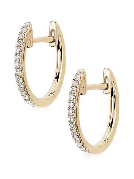 Mini Diamond Hoops<br /><i><small>14K Yellow Gold with White Diamonds</small></i><br /> - Eddera