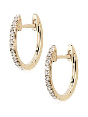 Mini Diamond Hoops<br /><i><small>14K Yellow Gold with White Diamonds</small></i><br />