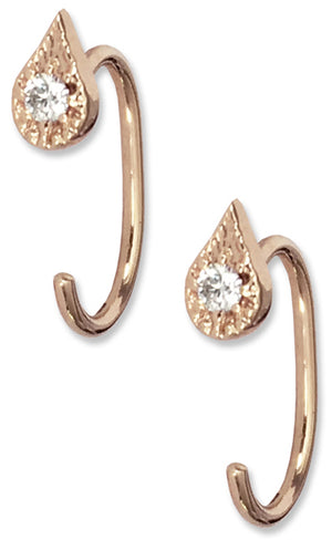 EMILY OPEN HOOPS | 14K Rose Gold with White Diamonds - Eddera