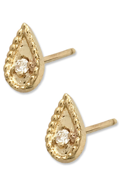 Emily Posts<br /><i><small>14K Yellow Gold with White Diamonds</small></i><br />