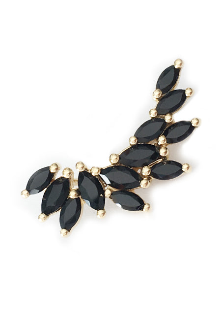 HEATHCLIFF EAR CRAWLER | 18K Gold Plated with Black Onyx - Eddera