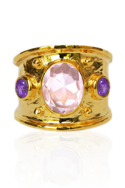 MARGOT RING | 18K Gold Plated with Rose Quartz and Amethyst - Eddera