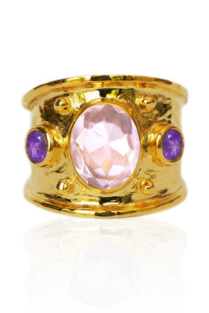Margot Ring<br /><i><small>18K Gold Plated with Rose Quartz and Amethyst</small></i><br /> - Eddera