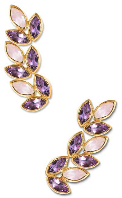 Mini Sienna Ear Crawlers<br /><i><small>18K Gold Plated with Amethyst & Rose Quartz</small></i><br /> - Eddera