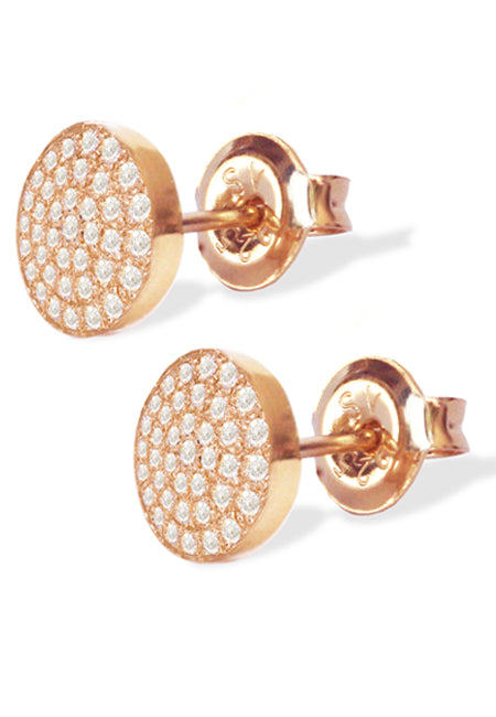 Mini Diamond Disks<br /><i><small>14K Rose Gold with White Diamonds</small></i><br />