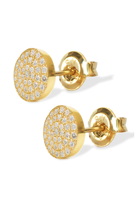 Mini Diamond Disks<br /><i><small>14K Yellow Gold with White Diamonds</small></i><br />