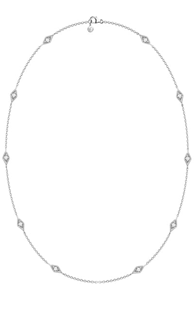 GONDAL NECKLACE | 14K White Gold with White Diamonds - Eddera