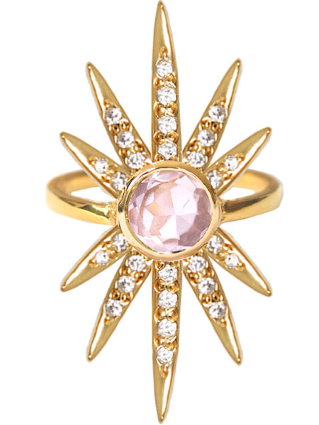 Sunburst Ring<br /><i><small>18K Gold Plated with Rose Quartz & White Topaz</small></i><br />
