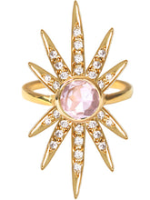 Load image into Gallery viewer, Sunburst Ring<br /><i><small>18K Gold Plated with Rose Quartz & White Topaz</small></i><br />