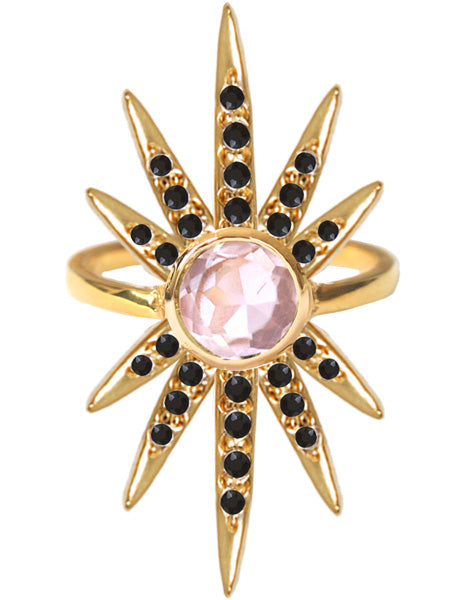 Sunburst Ring<br /><i><small>18K Gold Plated with Rose Quartz & Black Onyx</small></i><br /> - Eddera