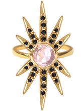 Load image into Gallery viewer, Sunburst Ring<br /><i><small>18K Gold Plated with Rose Quartz & Black Onyx</small></i><br />