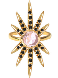 Sunburst Ring<br /><i><small>18K Gold Plated with Rose Quartz & Black Onyx</small></i><br />