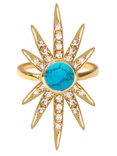 Load image into Gallery viewer, Sunburst Ring<br /><i><small>18K Gold Plated with Turquoise & White Topaz</small></i><br />