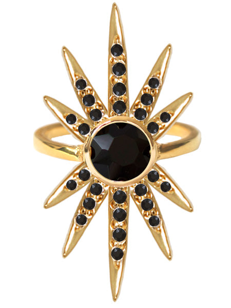 Sunburst Ring<br /><i><small>18K Gold Plated with Black Onyx</small></i><br /> - Eddera
