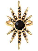 Load image into Gallery viewer, Sunburst Ring<br /><i><small>18K Gold Plated with Black Onyx</small></i><br />