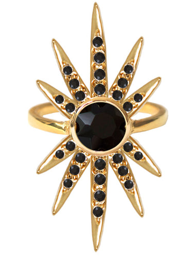 Sunburst Ring<br /><i><small>18K Gold Plated with Black Onyx</small></i><br />